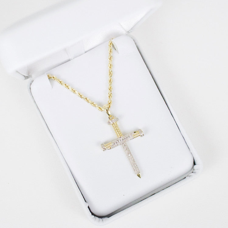 Gold & Diamond Small Cross Charm #8