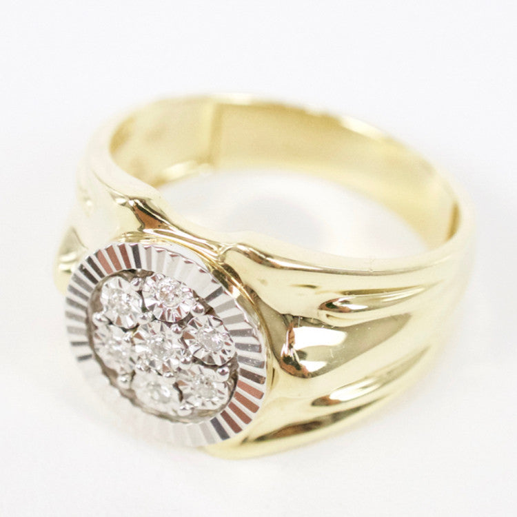 Gold & Diamond Mens Cluster Ring #11