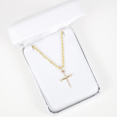 Gold & Diamond Baby Cross Charm #1