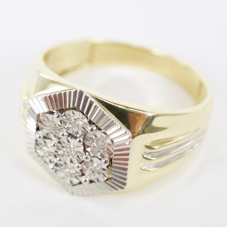 Gold & Diamond Mens Cluster Ring #12