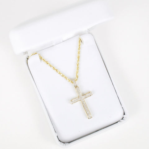 Gold & Diamond Small Cross Charm #12