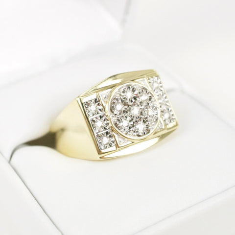 Gold & Diamond Mens Cluster Ring #14