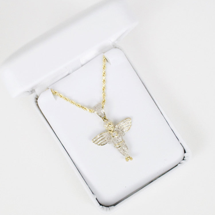 Gold & Diamond Medium Angel Charm #1
