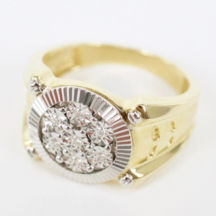 Gold & Diamond Mens Cluster Ring #15