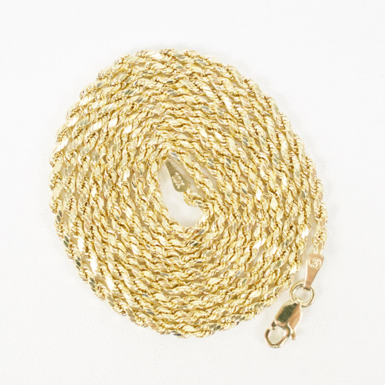 Gold 2.0mm Diamond-Cut Rope Chain