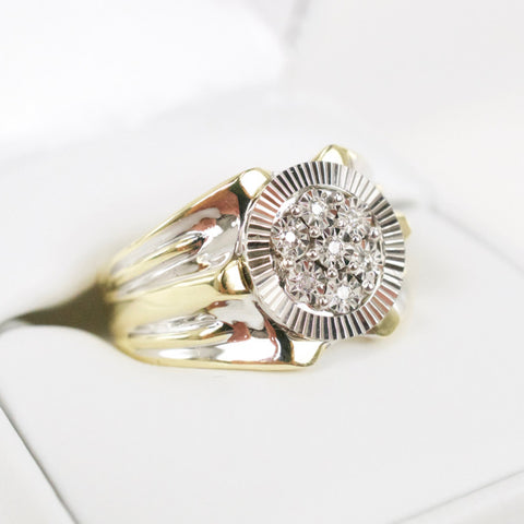 Gold & Diamond Mens Cluster Ring #16