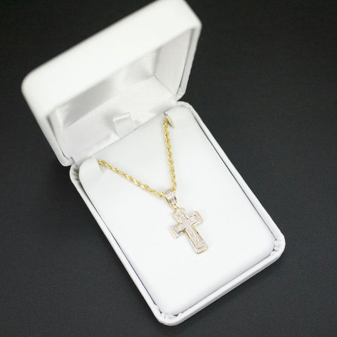 Gold & Diamond Baby Cross Charm #2