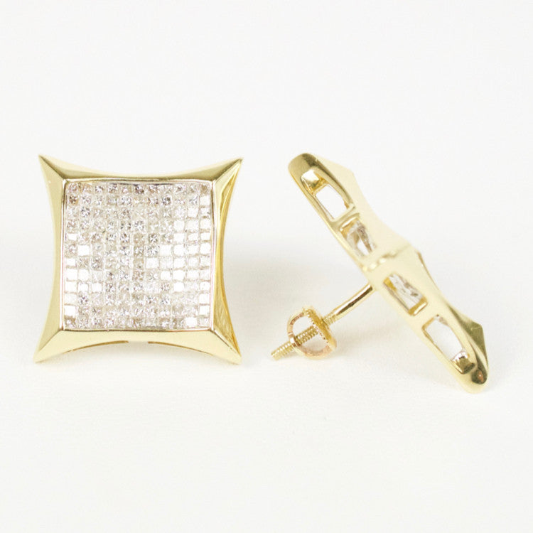 Gold & Diamond Large Cupped Kite Earrings