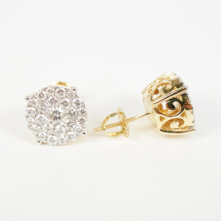 Gold & Diamond Large Round Cluster Earrings