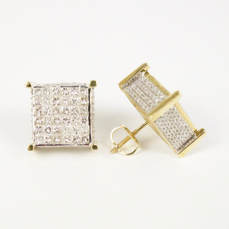 Gold & Diamond Large Cube Earrings