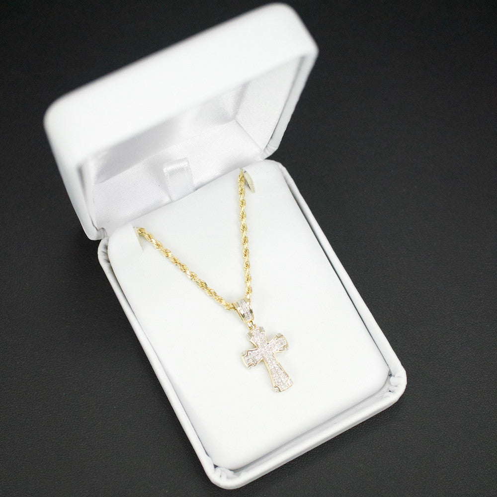 Gold & Diamond Baby Cross Charm #6