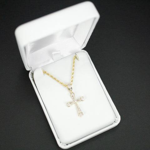 Gold & Diamond Baby Cross Charm #8