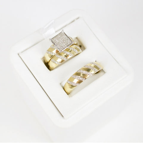 Gold & Diamond Trio Wedding Set #1