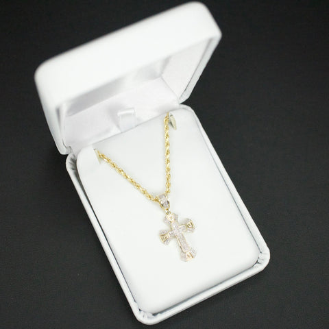 Gold & Diamond Baby Cross Charm #10