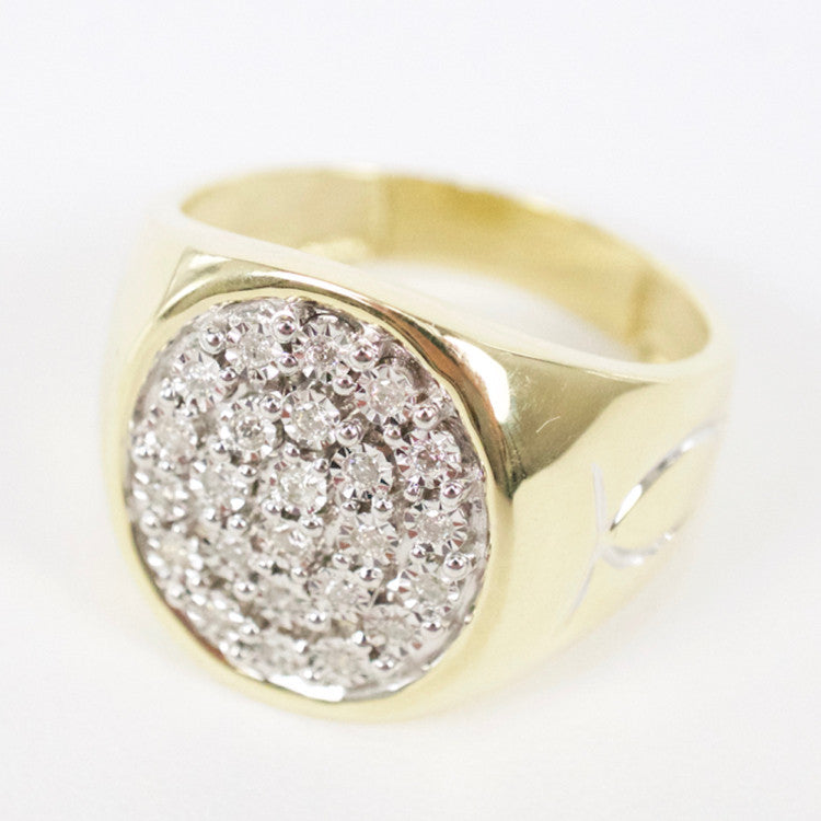 Gold & Diamond Mens Cluster Ring #17