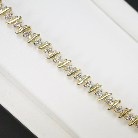 Gold & Diamond Ladies 1.0ct S-Link Bracelet