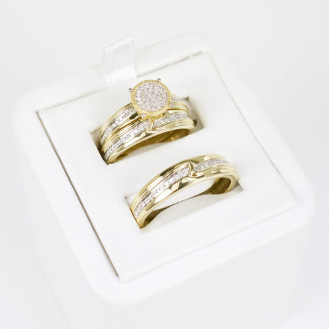 Gold & Diamond Trio Wedding Set #4