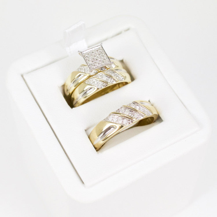 Gold & Diamond Trio Wedding Set #5