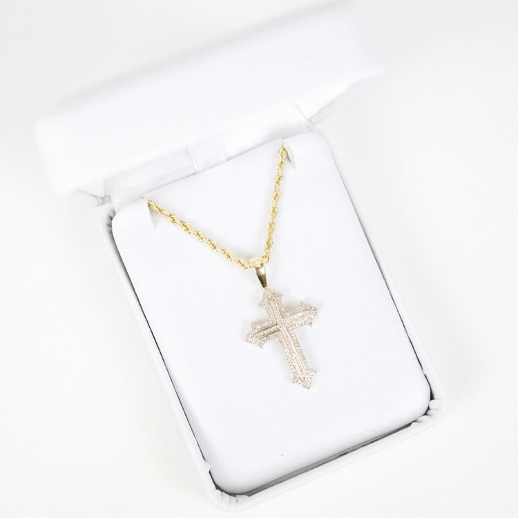 Gold & Diamond Small Cross Charm #13