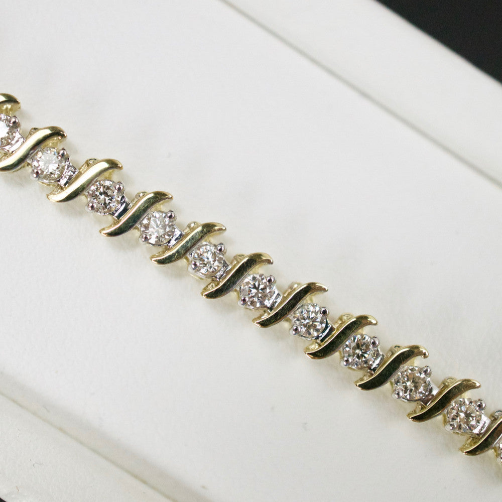 Gold & Diamond Ladies 2.0ct S-Link Bracelet