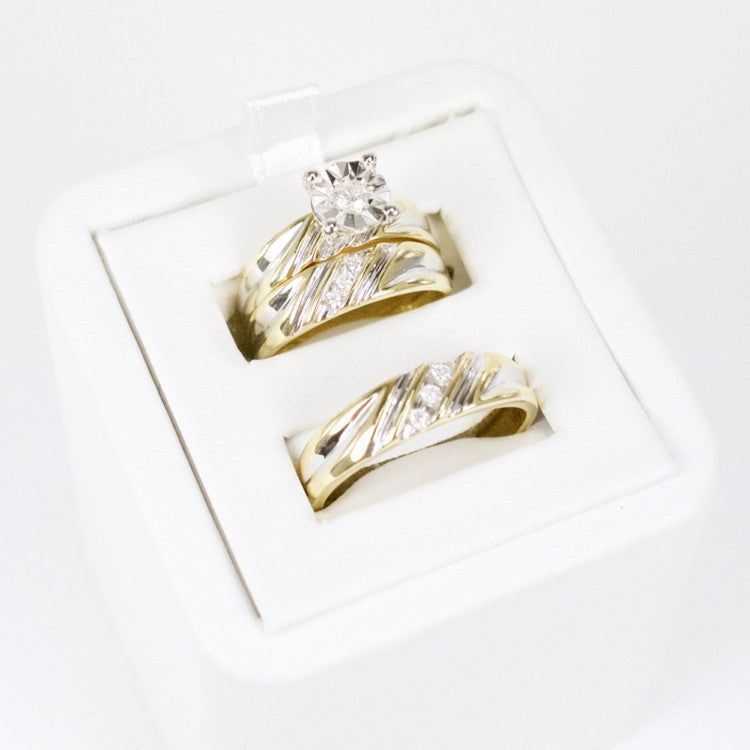 Gold & Diamond Trio Wedding Set #7