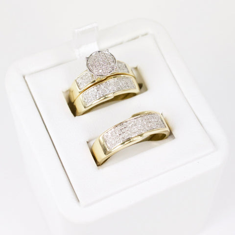 Gold & Diamond Trio Wedding Set #9