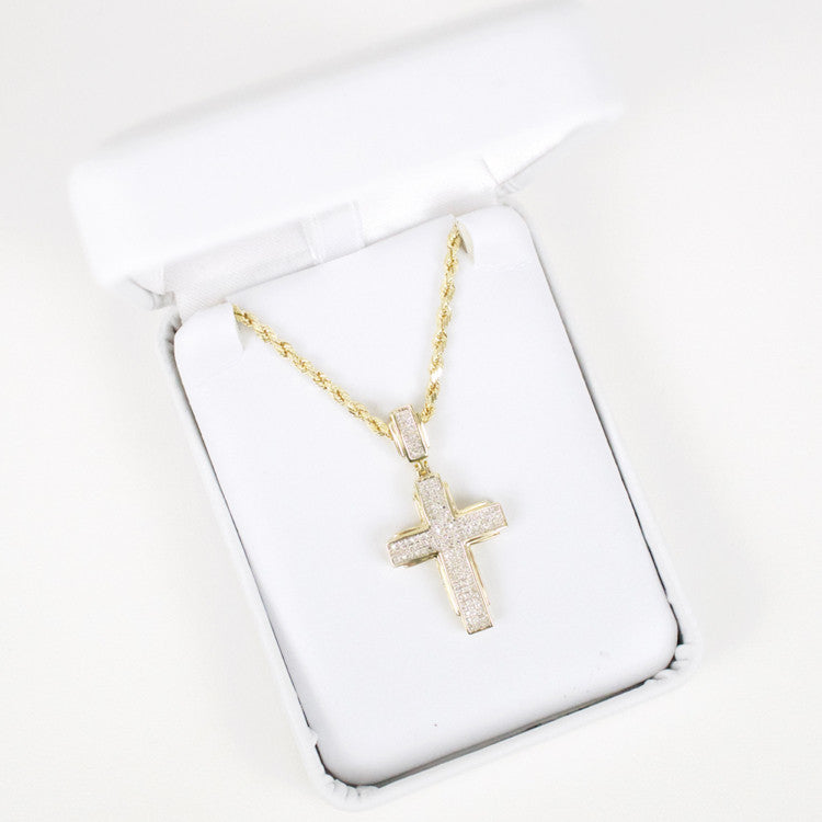 Gold & Diamond Small Cross Charm #14