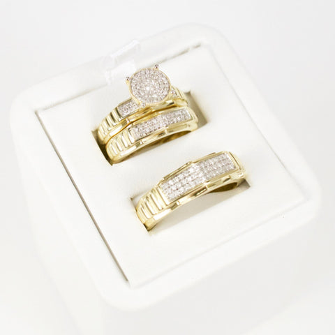Gold & Diamond Trio Wedding Set #10