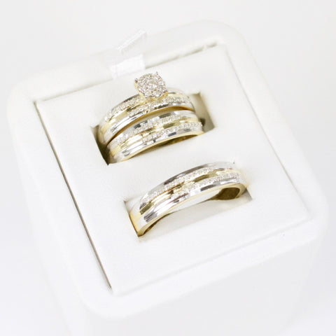 Gold & Diamond Trio Wedding Set #11
