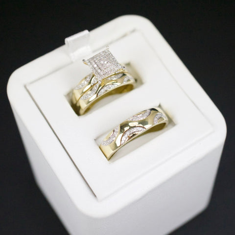 Gold & Diamond Trio Wedding Set #27