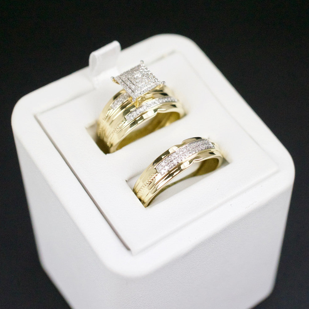 Gold & Diamond Trio Wedding Set #28