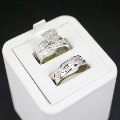 Gold & Diamond Trio Wedding Set #29