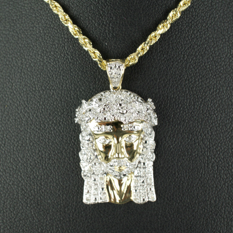 Gold & Diamond Small Jesus Charm #3