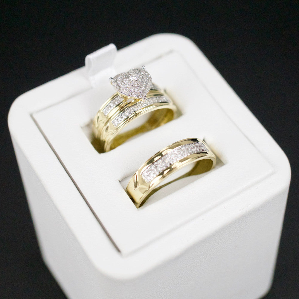 Gold & Diamond Trio Wedding Set #30