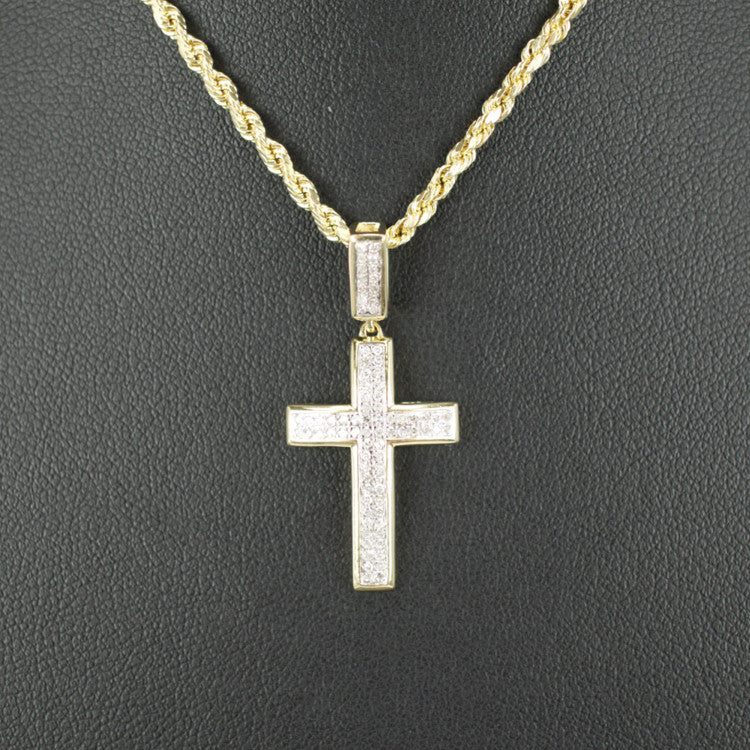 Gold & Diamond Small Cross Charm #15