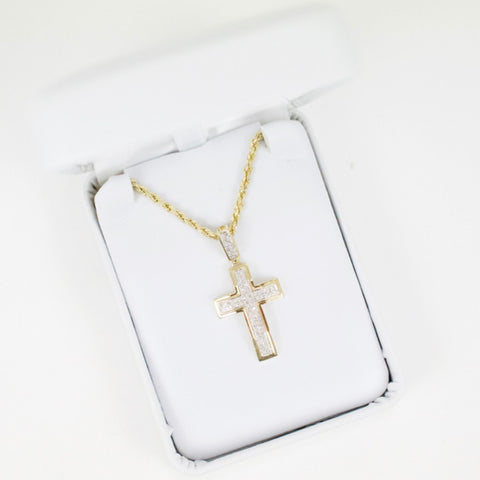 Gold & Diamond Small Cross Charm #16