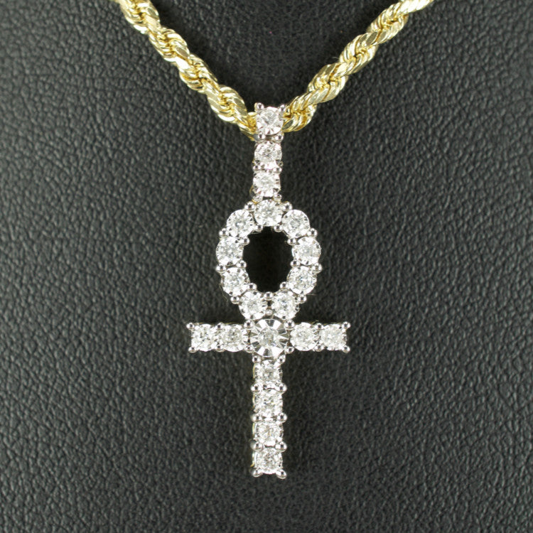 Gold & Diamond Small Cross Charm #9