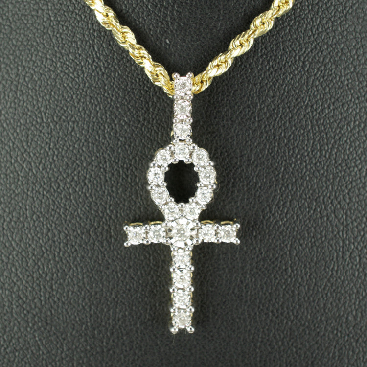 Gold & Diamond Small Cross Charm #10