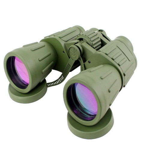 60X50 Perrini Brand Green Army Binoculars with Pouch Day / Night Prism View