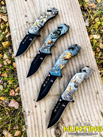 "8"" Folding Knife Spring Assisted Wolf Bear Buck and Eagle Printing Pocket Knife"