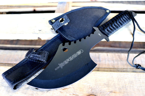 "Defender 11.5"" Ninja Axe with Sheath All Black Throwing Hunting Axe"