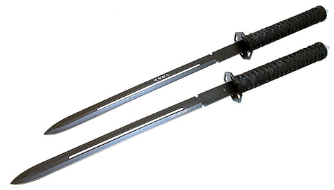 "Defender High Quality 24"" 2pc Sharp Ninja Deluxe Swword Black Sword with Sheath"