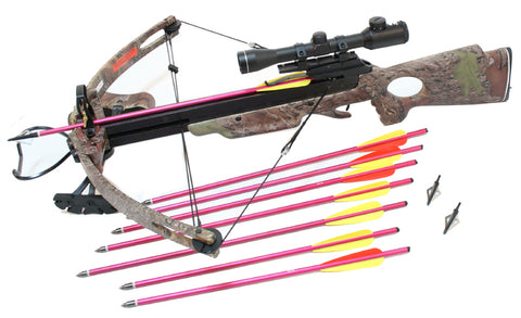 "MK250TC Hunting Crossbow 4x32 Green / Red Dot Reticle Scope + 20"" Arrows and Broad Heads Package"