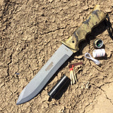 "13.75"" Defender Xtreme Fall Camouflage Stainless Steel Survival Knife with Plastic Sheath"