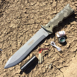 "13.75"" Defender XtremeWoodland Camouflage Stainless Steel Survival Knife with Plastic Sheath"