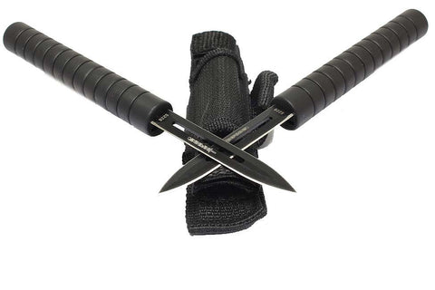 Interlocking Throwing Knives Baton Set of 2 with Sheath