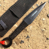 "6"" Defender Black Throwing Knife Stainless Steel with Sheath"