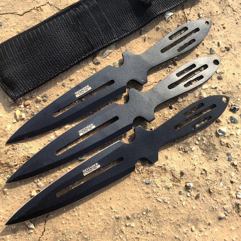 "Set of 3 Black Throwing Knives 9"" with & Sheath"