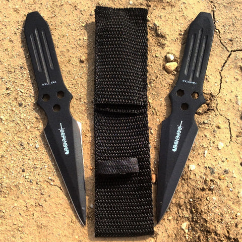 "Set of 2 Black 6"" Throwing Knives with Sheath Sharp"