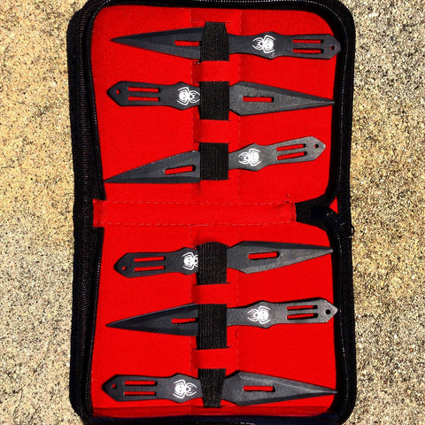 "Set Of 6 Black 5.5"" Throwing Knives With Carrying Case"